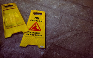 Yellow Caution Slip and Fall Signs